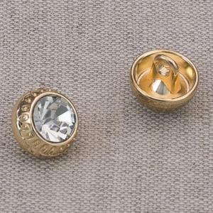 Пуговица металл ПМ68 10мм золото кристалл уп 12 шт