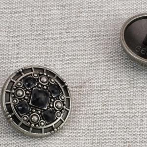 Пуговица металл ПМ80 20мм черный никель  черная эмаль уп 12 шт