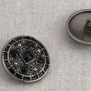 Пуговица металл ПМ80 25мм черный никель  черная эмаль уп 12 шт