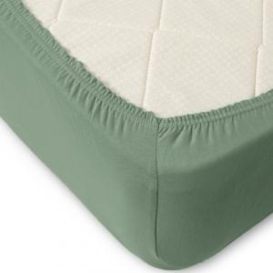 Простыня трикотажная на резинке цвет серо-зеленый 120/200/20 см