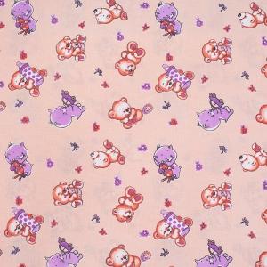 Ткань на отрез бязь ГОСТ детская 150 см 116/4 Мишки цвет розовый