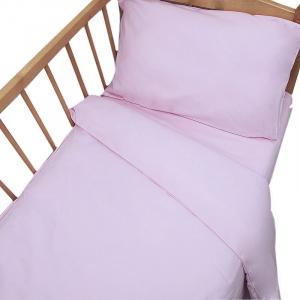 Постельное белье в детскую кроватку с простыней на резинке Розовый сатин