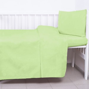 Постельное белье в детскую кроватку с простыней на резинке Салатовый сатин