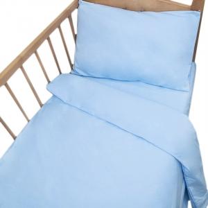 Постельное белье в детскую кроватку с простыней на резинке Голубой сатин
