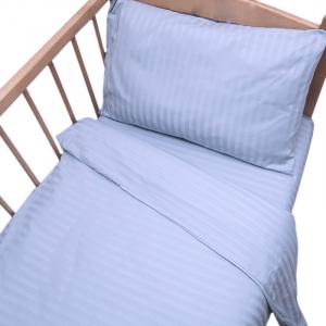 Постельное белье в детскую кроватку  Голубой страйп- сатин