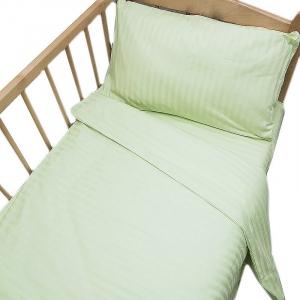 Постельное белье в детскую кроватку  Салатовый страйп- сатин