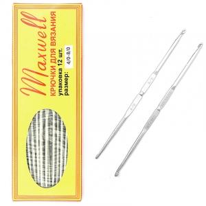 Крючок для вязания ТВ-СН-01 Maxwell Black №4/0-8/0 двусторонний. 2,5 мм- 3,5 мм