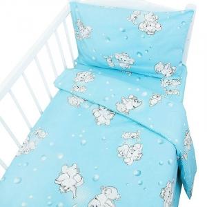Постельное белье в детскую кроватку 1285/1 Мамонтенок голубой ГОСТ