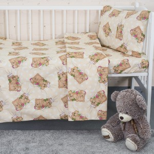 Постельное белье в детскую кроватку из бязи 1286/6 Соня бежевый ГОСТ