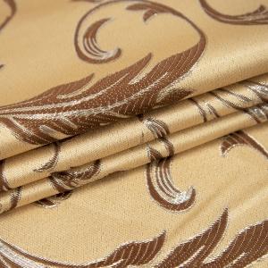 Портьерная ткань с люрексом 150 см на отрез Х7187 цвет 11 бежевый вензель