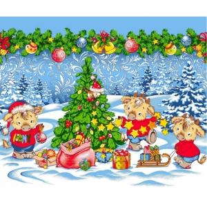 Ткань на отрез вафельное полотно 50 см 5649/1 Новогодние радости