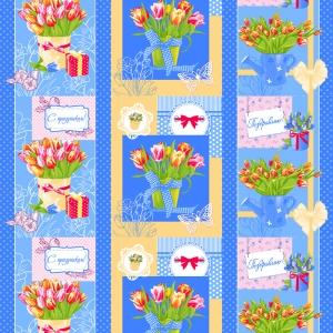 Вафельное полотно набивное 150 см 449/1 Тюльпаны