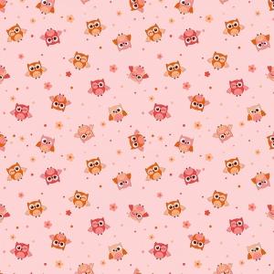 Фланель грунт 75 см 5225/3 Совушки цвет розовый
