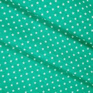Ткань на отрез бязь плательная 150 см 7223 Мелкие звездочки 0.5 см цвет изумруд