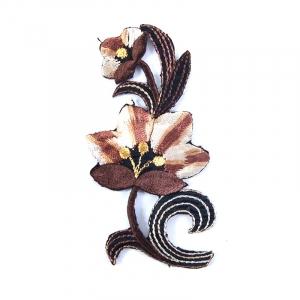 Аппликации термо 104-7 (10х5) Цветок цвет коричневый