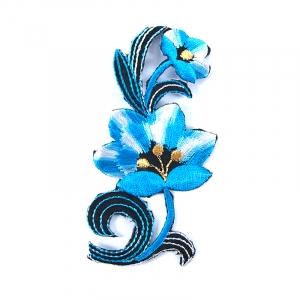 Аппликации термо 104-1 (10х5) Цветок цвет голубой