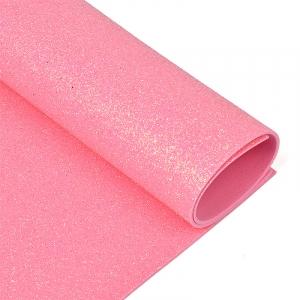 Фоамиран глиттерный 2 мм 20/30 см уп 10 шт MG.GLIT.H040 цвет розовый