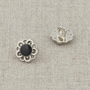 Пуговица металл ПМ120 11мм серебро черная эмаль цветок уп 12 шт