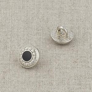 Пуговица металл ПМ121 10мм серебро черная эмаль узор уп 12 шт
