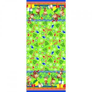 Вафельное полотно набивное 150 см 446/2 Обезьяны цвет зелёный