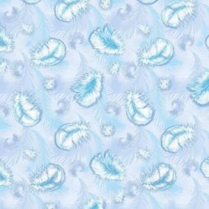 Ткань на отрез Тик 150 см 170 гр/м2 5432-1 Пёрышки цвет голубой