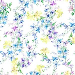 Ткань на отрез Тик 150 см 170 гр/м2 5462-1 Цветы на белом
