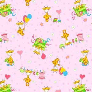 Ткань на отрез фланель 90 см 21030/3 Жирафики цвет розовый