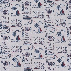 Ткань на отрез лен TBY-DJ-02 Морской на бежевом