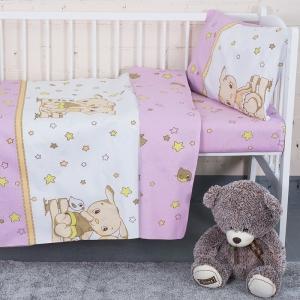 Постельное белье в детскую кроватку 8071/3 Друзья цвет розовый