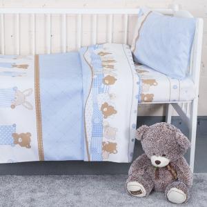 Постельное белье в детскую кроватку 8078 Спящие мишки голубой