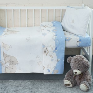 Постельное белье в детскую кроватку 8077 Птенчики цвет голубой