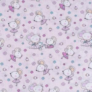Ткань на отрез поплин 150 см 1953/1 Мышки-балерины цвет персиковый