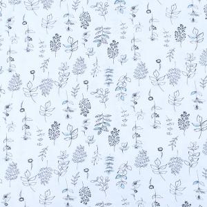 Ткань на отрез кулирка пенье Цветы с голубым 3950-18
