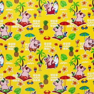 Ткань на отрез вафельное полотно набивное 150 см 7706/3 Свинки на пляже цвет желтый