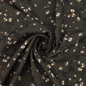 Ткань на отрез ниагара 150 см D010 Цветы на коричневом
