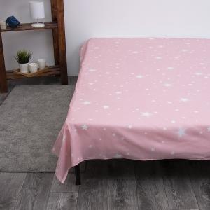 Простынь бязь детская 204562 Звездное небо розовый компаньон 1.5 сп