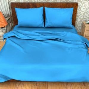 Постельное белье ситец Шуя однотонное синий 1.5 сп
