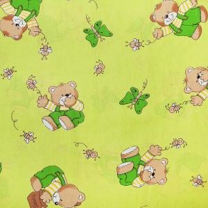 Ткань на отрез бязь ГОСТ детская 150 см 1332/2 За медом цвет салатовый