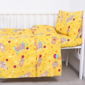Постельное белье в детскую кроватку из бязи 350/5 Мишки желтый ГОСТ