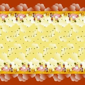 Вафельное полотно набивное 150 см 60/2 Баня цвет лимон