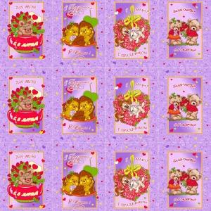 Вафельное полотно набивное 180 см 297/2 Сладкая парочка цвет фиолетовый