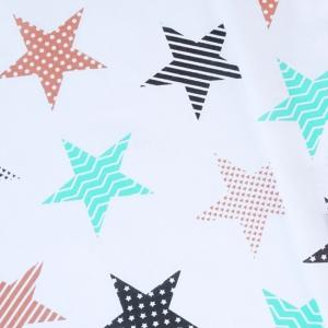 Ткань на отрез бязь плательная 150 см 8104/3 Звезды пэчворк цвет бирюза