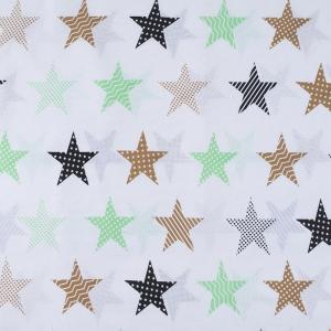 Ткань на отрез бязь плательная 150 см 8104/4 Звезды пэчворк цвет салатовый