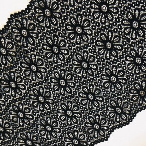 Кружево эластичное  25см черный 2269 1м