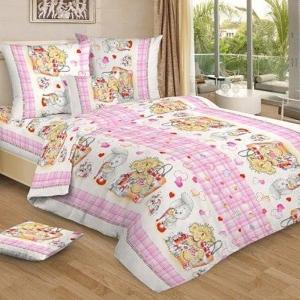 Постельное белье детское 7016/2 цвет розовый 1.5 сп.