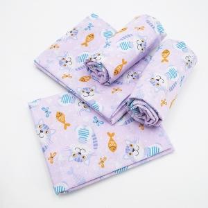 Набор детских пеленок ситец 4 шт 95/120 см 9806/4 Котики