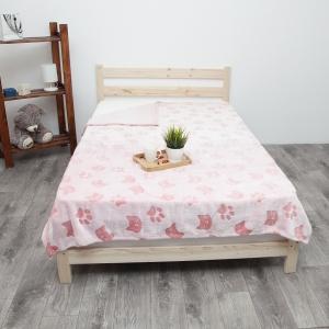 Покрывало велсофт стриженный Розовые кошки 150/200