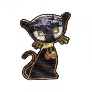 Аппликация ТАП С8 кошка черный золото 16*23см