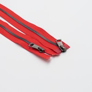 Молния металл №5СТ черный никель два замка 75см D820 красный