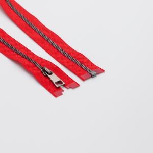 Молния металл №5СТ черный никель разьем 65см D820 красный